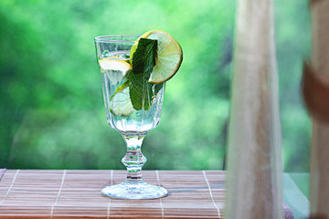 homemade lemonade lemon mint ice in a glass