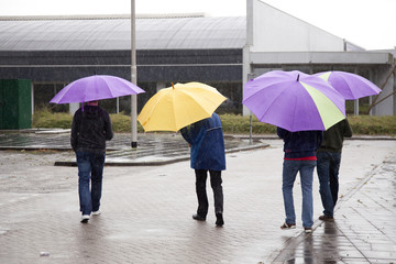 four people under colorful umbrella's