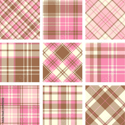 Papiers peints Artificiel Set of seamless tartan patterns