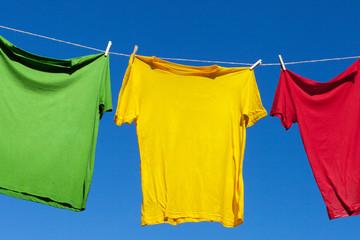 Clothesline and shirts.