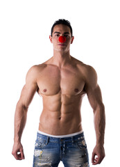 Small Red Ball on Sexy Young Hot Man Nose as Clown