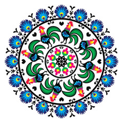Polish traditional folk art pattern in circle with roosters