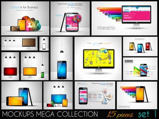 Collection of phone, pc and tablet mockups with infographics.
