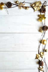 Gold Christmas ornaments.frame