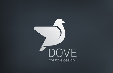 Logo Dove flying vector design icon. Bird abstract logotype