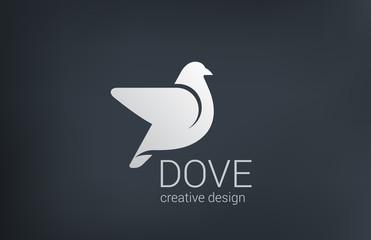 Logo Dove flying vector design icon. Bird abstract logotype
