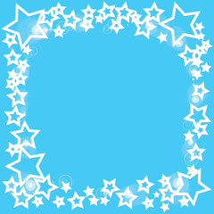 abstract bokeh white star on blue background
