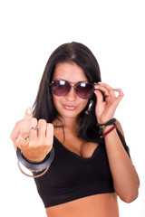 sexy woman making beckoning gesture with finger showing 'come he
