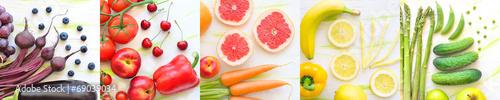Foto op Canvas Vissen kolaż owoce i warzywa w kolorach tęczy