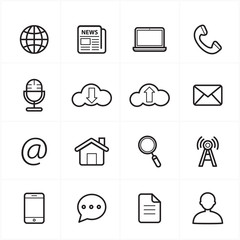 Flat Line Icons For Web Icons and Internet Icons