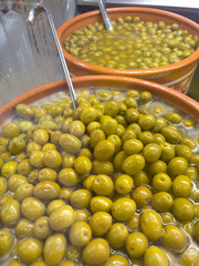Traditional Greek Mediterranean product olives on store display