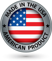 Made in the USA american product silver label with flag, vector