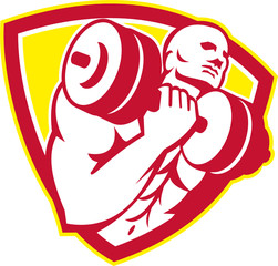 Man Lifting Dumbbell Shield Retro