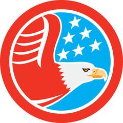 American Bald Eagle Stars Circle Retro