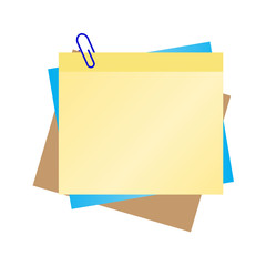 colorful  blank post it with blue clip
