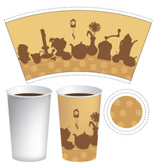 pattern for a paper cup of tea with a still life of cutlery