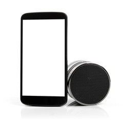 blank mobile phone with bluetooth audio speaker