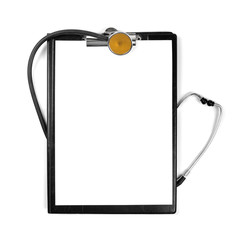 blank clipboard with stethoscope isolated on white