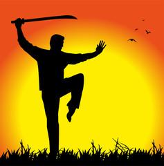 allenamento shaolin con sciabola al tramonto