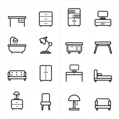 Flat Line Icons For Furniture Icons