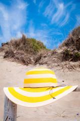 Sun-hat in a beach