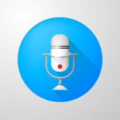 Icon for blog. White vertical microphone