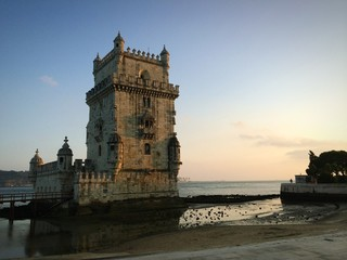 belem tower in the golden hour