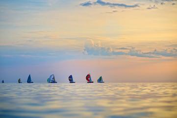 Colorful sailing boats on the sea