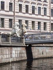 St. Petersburg, Russia. Typical urban view. Lion Bridge