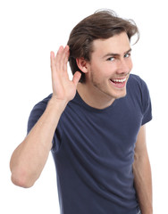 Happy man hearing with hand on ear