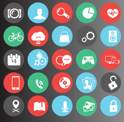 web, media icons set 25