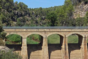 Paisage de montaña con puente y bosque