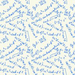 Math Seamless Pattern Blue