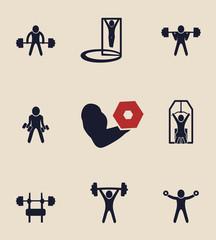 exercises icons set