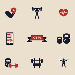 gym and fitness icons