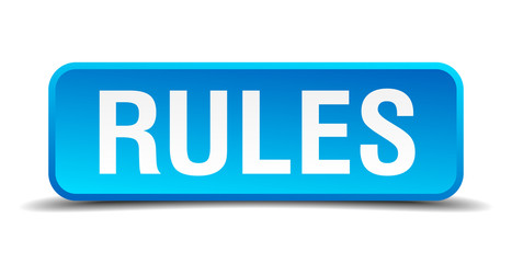Rules blue 3d realistic square isolated button