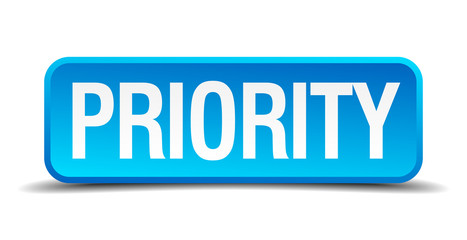 Priority blue 3d realistic square isolated button