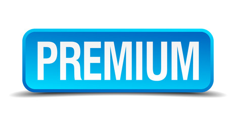 Premium blue 3d realistic square isolated button