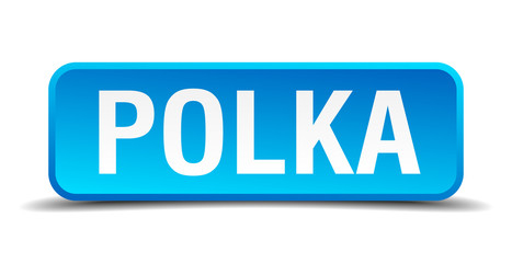 Polka blue 3d realistic square isolated button
