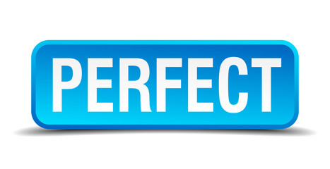 Perfect blue 3d realistic square isolated button