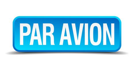 Par avion blue 3d realistic square isolated button