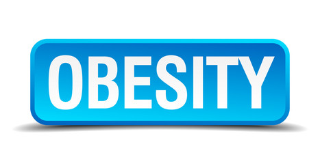 Obesity blue 3d realistic square isolated button