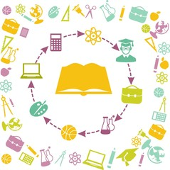 Silhouette of a book with many education icons around