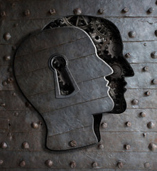Human brain door with keyhole concept made from metal gears and