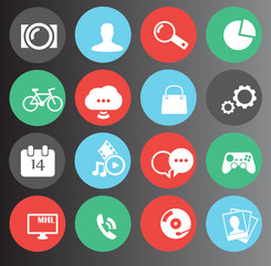web, media icons set 16