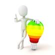 3d man standing near a light bulb, energy efficiency concept