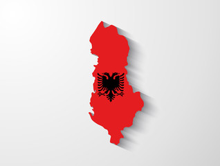 Albania map with shadow effect