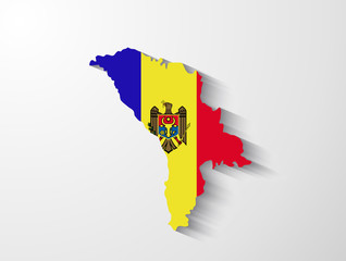 Moldova map with shadow effect