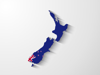 New Zealand map with shadow effect