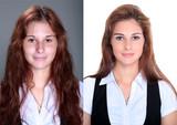 Fototapety Hübsche Frau im Vergleich mit und ohne Make Up